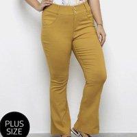 Calça Flare Heli Plus Size Feminina - Amarelo