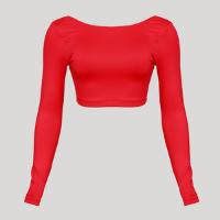 blusa cropped manga longa decote redondo com proteção uv mindset sport vermelha