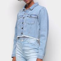 Jaqueta Jeans Influencer Cropped Manga Bufante Barra Desfiada Feminina - Azul Claro