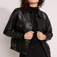 jaqueta shacket com bolsos preta
