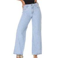 Calça Jeans Pantalona Feminina - Azul Claro