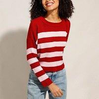 suéter de tricô listrado