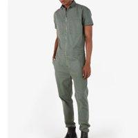 Macacão Jeans Color Masculino Utilitário Worker Wear Verde Militar