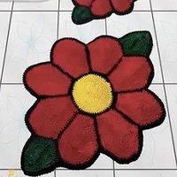 Tapete jogo de banheiro 3 peças Flor laranja - Bellos Tapetes