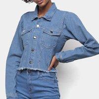Jaqueta Jeans Influencer Cropped Manga Bufante Barra Desfiada Feminina - Azul