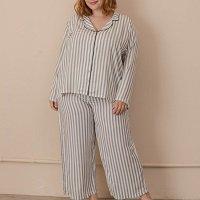 Pijama Clássico Listras Plus Size
