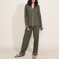 pijama feminino camisa manga longa verde