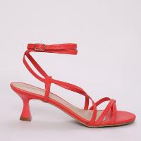 sandália feminina oneself salto médio fino com tiras para amarrar vermelha