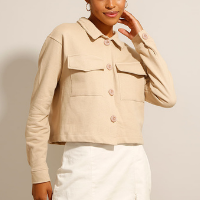 jaqueta shacket de moletom com bolsos bege
