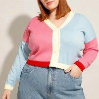 cardigan cropped amplo de tricô plus size color block decote v mindset multicor