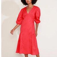 vestido feminino mindset midi envelope manga bufante vermelho