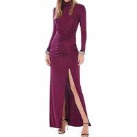 Vestido Iódice Longo Gola Alta Com Drapeado Feminino - Vinho