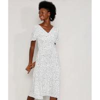 vestido feminino midi estampado de poá manga curta off white