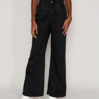 calça jeans feminina pantalona wide cintura super alta preta