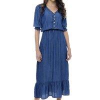Vestido Longo SOB Com Mangas e Decote V Feminino - Azul