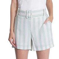 Shorts Viscose Detalhe Listra Com Cinto Cós de Elástico Miss Joy 6372 Feminino - Verde