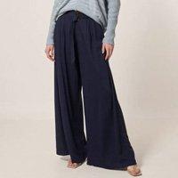 Calça Pantalona Pregas Frontais Feminina - Azul