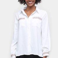 Camisa Social Road Mel Manga Longa Bordados Feminina - Off White