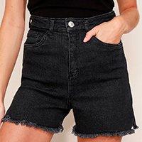 short jeans feminino mindset cintura super alta com barra desfiada preto