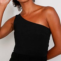 blusa feminina mindset um ombro só alça larga preta