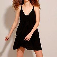 vestido curto de viscose com babado alça fina preto
