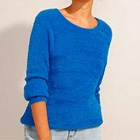 suéter de tricô felpudo decote redondo azul royal