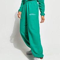 calça baggy jogger de moletom com bolsos mindset verde