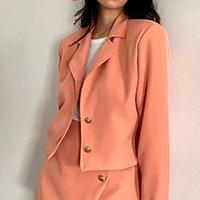 blazer feminino mindset cropped coral