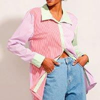 camisa longa listrada com recortes manga longa multicor