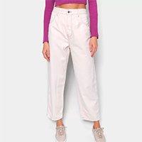 Calça Jeans Farm Semi Baggy Cintura Alta Feminina - Areia