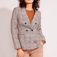 blazer transpassado estampado xadrez cinza