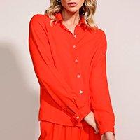 camisa feminina ampla manga longa laranja