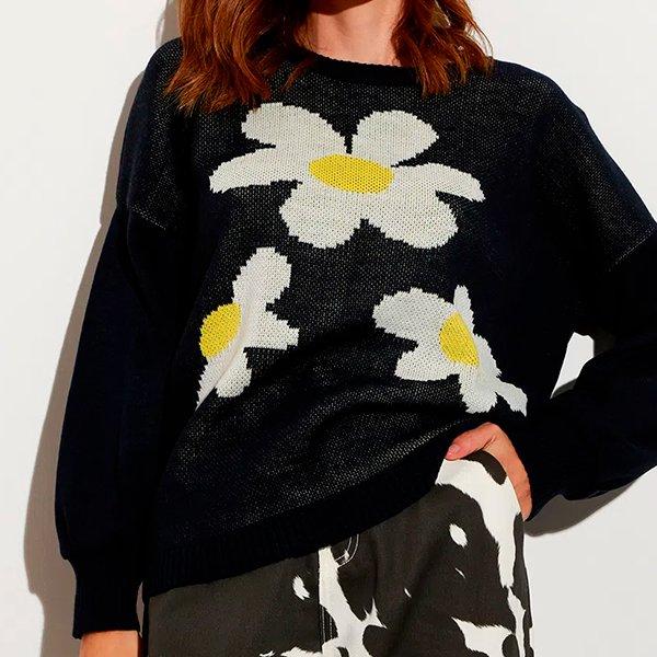suéter amplo de tricô margaridas decote redondo mindset azul escuro