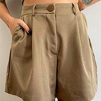 bermuda feminina mindset cintura alta alfaiataria com bolsos kaki