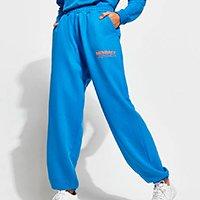 calça baggy jogger de moletom com bolsos mindset azul royal