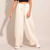 calça pantalona de moletom cintura alta bege