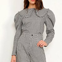 calça wide reta alfaiataria estampada xadrez vichy cintura super alta mindset preta