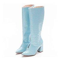 Bota Feminina Croco Zíper Cano Alto Confortável Casual - Azul