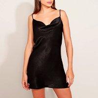 vestido slip dress feminino mindset curto acetinado alça fina decote degagê preto