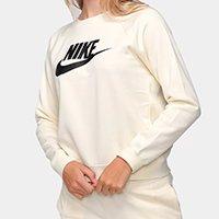 Moletom Nike Essential Crew Feminino - Bege+Preto