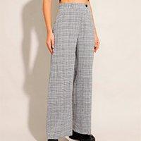 calça pantalona estampada xadrez alfaiataria cintura super alta cinza