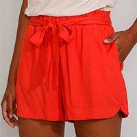 short feminino cintura alta running clochard com faixa para amarrar laranja