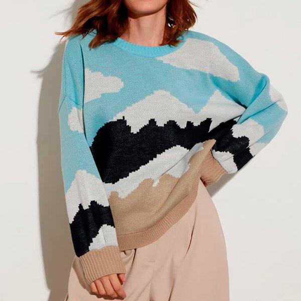 suéter amplo de tricô estampado de paisagem decote redondo mindset azul claro