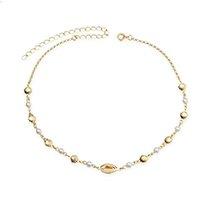 Choker búzio e conchas detalhes pérolas banho e ouro - Dourado