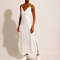 vestido slip dress acetinado com renda longo alça fina mindset off white