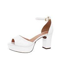 Sandalia Branca Noiva Meia Pata Salto Grosso - Branco