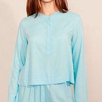 camisa de viscose manga longa gola padre mindset azul claro