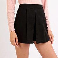 short saia feminino com pregas cintura média preto