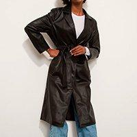 casaco trench coat longo com bolsos e faixa para amarrar mindset preto