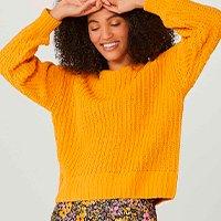 Blusão Feminino Em Tricot Com Efeito Matte - Amarelo